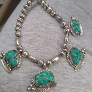 Sterling Old Pawn turquoise Navajo pearl necklace